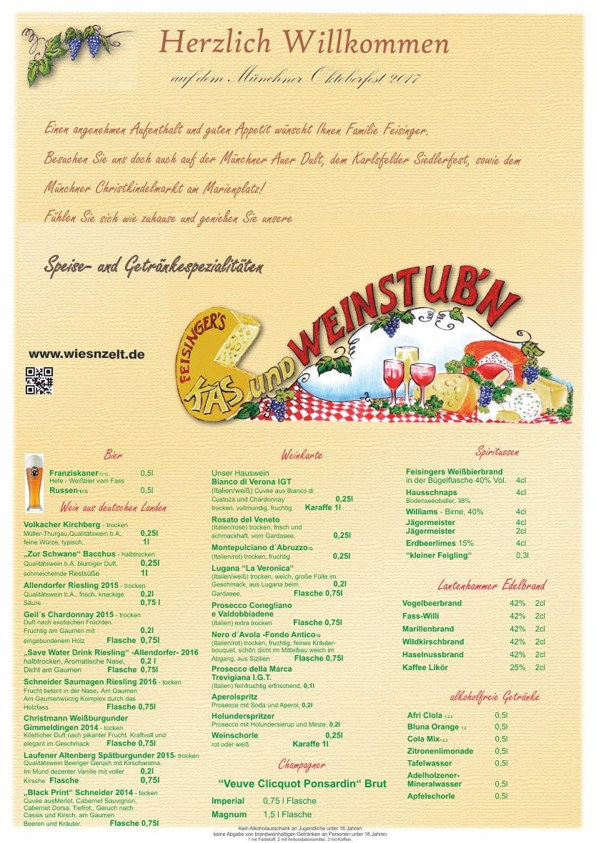 Wiesnzelt.de: Getränkekarte